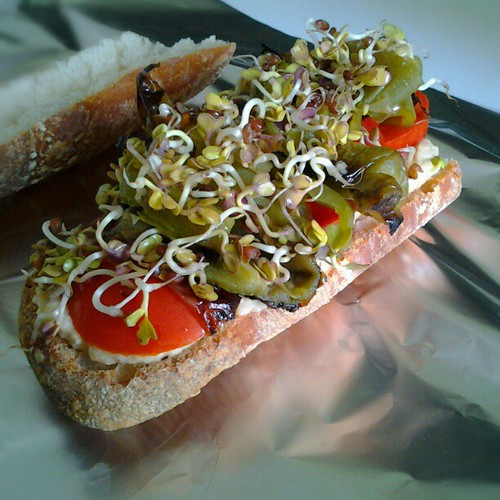 Baba ganoush, raw tomato, grilled green pepper and radish sprouts sandwitch #vegan | by Lablascovegmenu