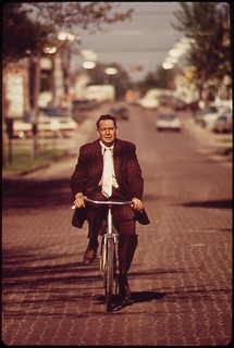 Associate County Court Judge Fred Burns, on his daily bike ride to the Seward County courthouse, May 1973 | by The U.S. National Archives