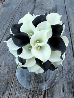 black and white real touch calla lily bridal bouquet | by gardensidestudio