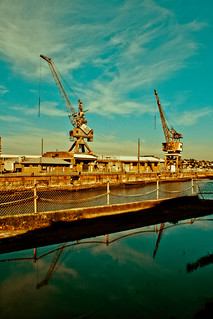 Cranes over dry dock | by Justine King