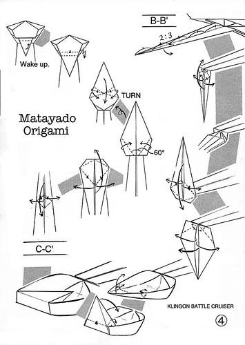 klingon battle cruiser origami diagram easy version 4