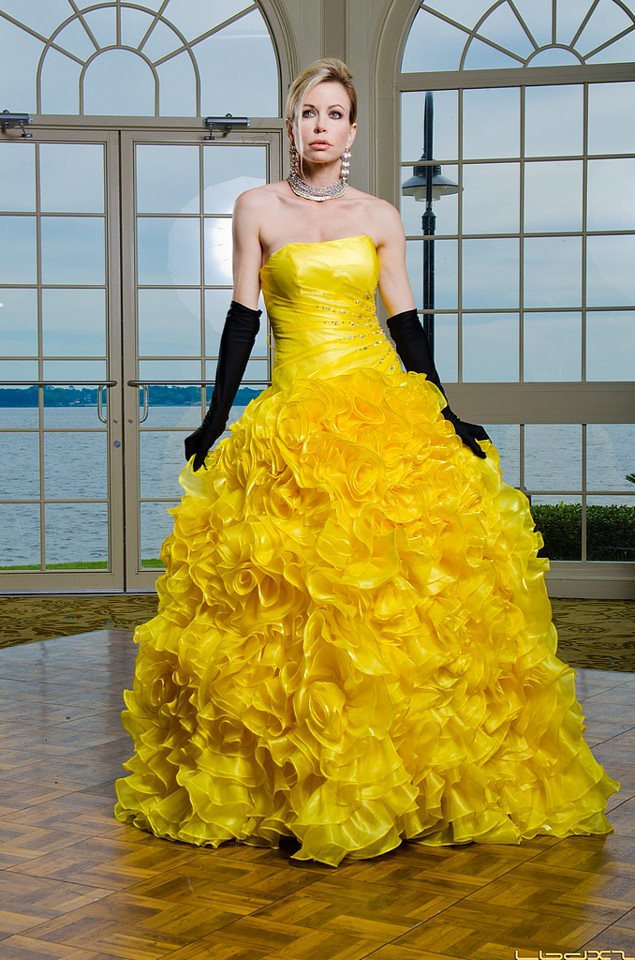 Shaune Bagwell models a gown by Australian designer, Dana … | Flickr