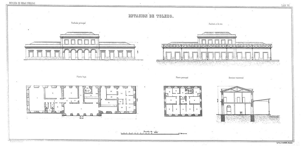 Primera estación de ferrocarril de Toledo, inaugurada en 1858 (planos). Revista de Obras Públicas, 1859.