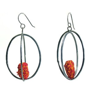 Myung Urso earrings, sterling silver and red fiber | by Memorial Art Gallery