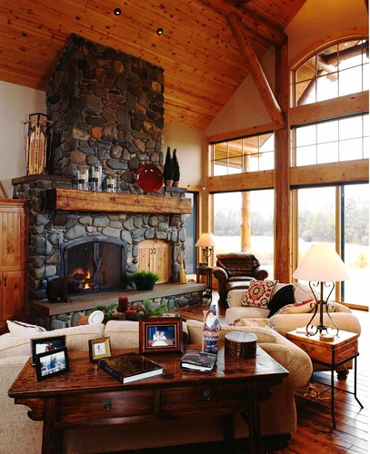 Vintage Home Interior Designs: Living Room With River Rock Stone Fireplace And Pine Wood