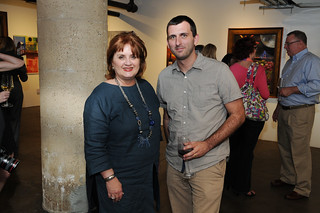 Veletta Lill, executive director of Dallas Arts District, and Peter Simek, arts editor for D Magazine - Jordan Winery's 4 on 4 Dallas Art Competition Hosted by D Magazine at Rising Gallery | by 4on4Art