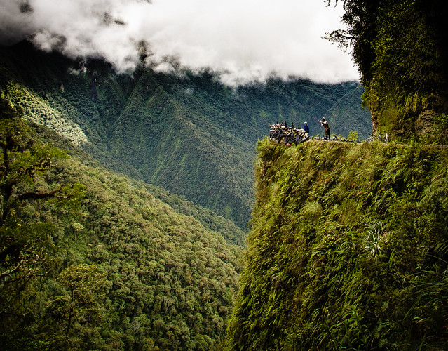 Ruta de la muerte entre La Paz y Coroico, Bolivia.
