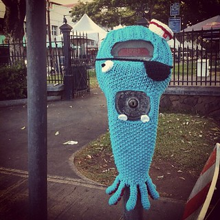 oh hello. ;D #hanasaurusrex #meter #monster #findart #chinatown #knitting #crochet | by hanasaurusrex