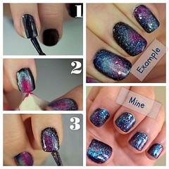 I found this galaxy nail tutorial on pinterest and had to flickr prinsesfo Gallery