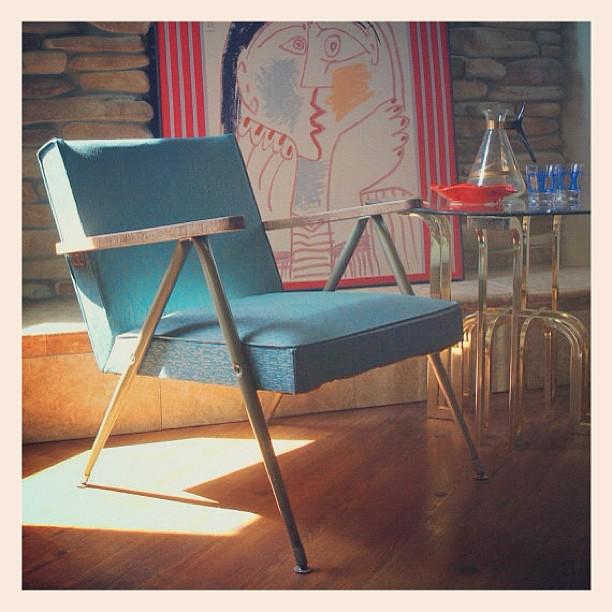 ... MID CENTURY MODERN Furniture Vintage Danish Modern Lounge Chair 1950s  Bent Metal Steel Upholstered Wood Arm