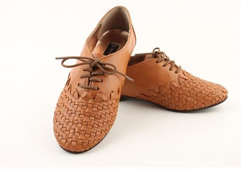 Tan Flat Leather Shoes