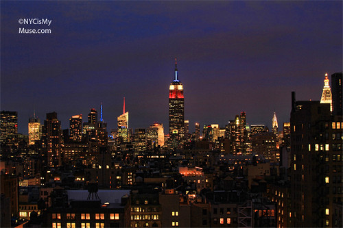 Empire State Building in Red White and Blue for the now taller 1 World Trade Center | by NYCisMyMuse