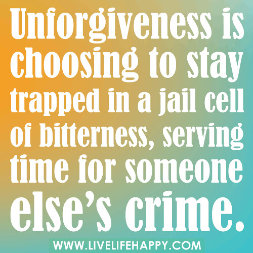 "Quotes About Bitterness: ""Unforgiveness Is Choosing To Stay Trapped In A Jail Cell"