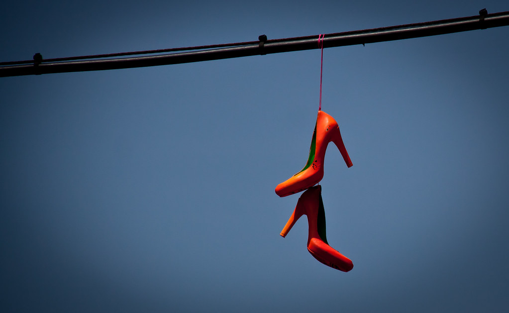 Orange High Heels on a Wire - Williamsburg, BK | AND Thanks … | Flickr