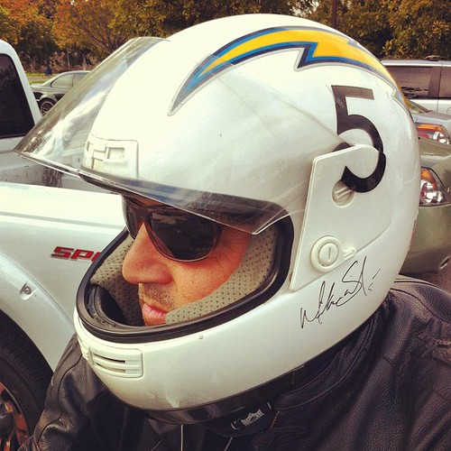 Check out this sweet Chargers street bike helmet | by San Diego Chargers