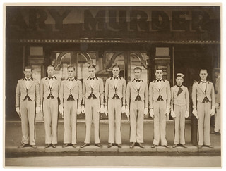 [Hoyts ushers and candy tray boy (?) in line on the footpath] n.d. by Sam Hood | by State Library of New South Wales collection