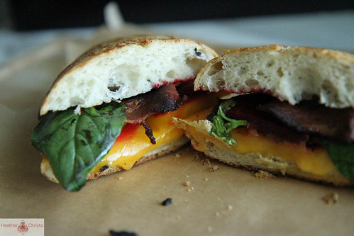 Beet, Bacon and Basil Grilled Cheese Sandwich | by Heather Christo
