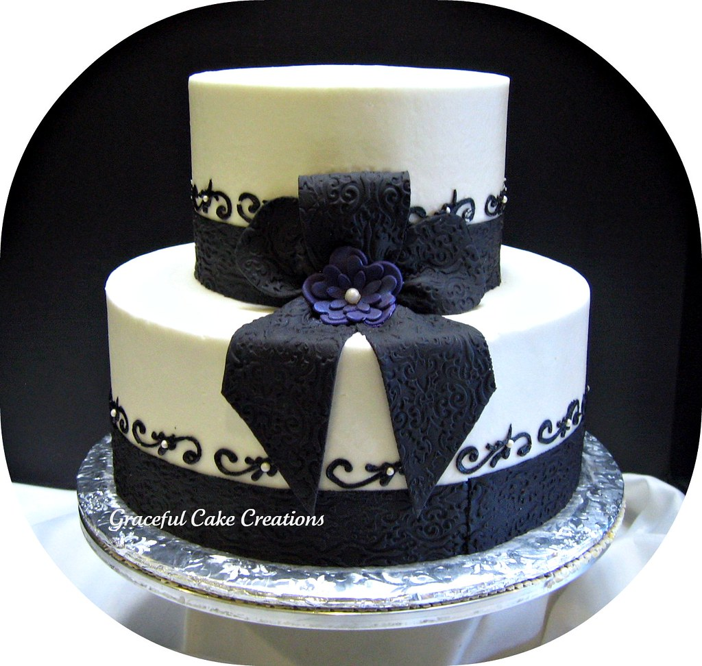 black and white bridal shower cake by graceful cake creations