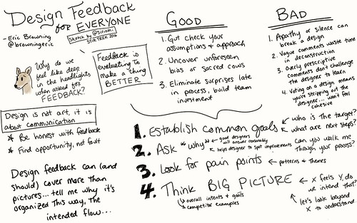 Designing Feedback for Everyone @browningeric #stirtrek #sketchnotes @stirtrek | by Siriomi