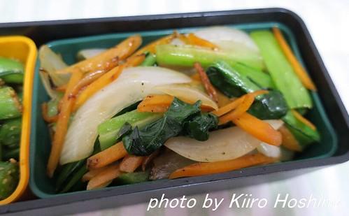 お弁当、2016-5-31、小松菜&玉ねぎ中華炒め