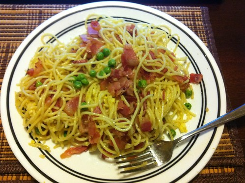 My Homemade Spaghetti Carbonara is sooo good. the secret ingredient is bacon grease. | by ingrelli