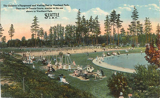 Playground and wading pool at Woodland Park, circa 1915 | by Seattle Municipal Archives