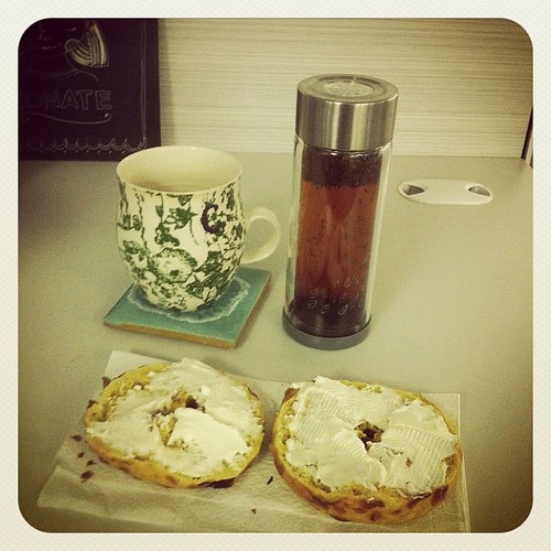 Bagels in the office?? Awesome! And my rooibos tea. | by sparrowlight