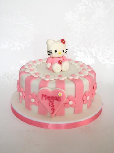 Maries Manor Hello Kitty: Pink Stripey Hello Kitty Birthday Cake