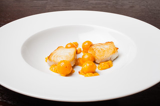 "Halibut with cape gooseberry, chipotle, and masa ""wire"" 02 