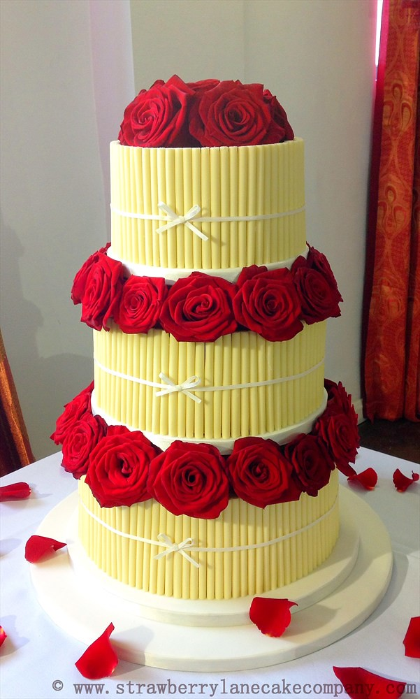 White Chocolate Cigarellos and Red Roses Wedding Cake   Flickr