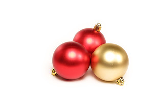 Christmas Ornaments on White Background | by Trostle