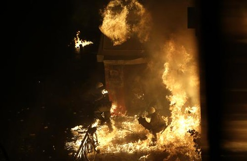 Greek protesters threw petrol bombs at police during demonstrations against the imposition of additonal austerity measures. The country is suffering from the world economic crisis. | by Pan-African News Wire File Photos