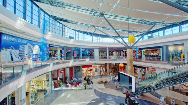 Galleria burgas shopping mall atrium daylight lighting design