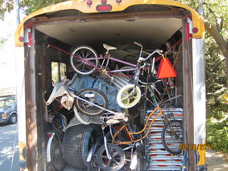 Stuffed with Whymcycles, Mobile Kinetic headquarters Millicent, ready to disgorge Mobile Whymcycle Museum. 20 feet deep, 8'x8'. | by whymcycles