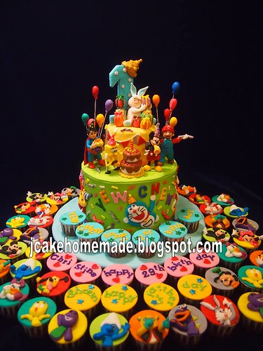 Birthday Cake Images With Cartoon Character : 3D cartoon birthday cake Happy 1st birthday Yew Chen ...