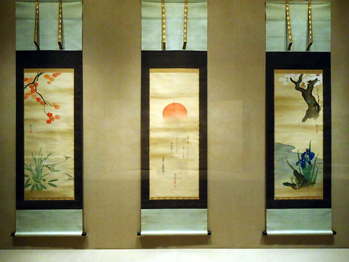 Triptych of Rising Sun and Plants of the Four Seasons | by toranosuke