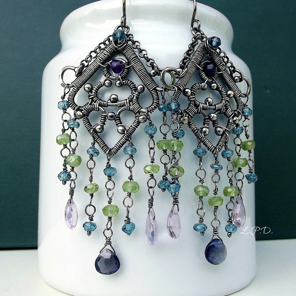 Wire Wrapped Sterling Silver Chandelier Earrings With Gems… | Flickr