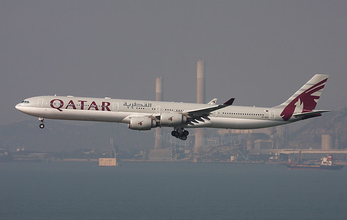"A7-AGD, Airbus, A340-642, ""Qatar Airways"", Hong Kong 