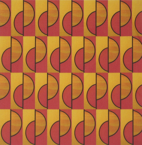 'Red and gold half circles slipped': printed on cotton sateen | by Su_G