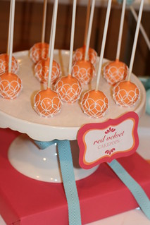 Red Velvet Cake Pops piped with Concentric Circles | by Sweet Lauren Cakes