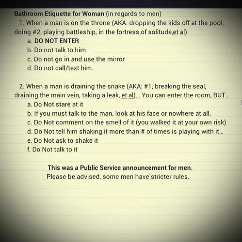 Bathroom etiquette for women | #rules #men #women Uploaded ...