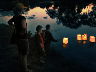 Family Launching their Lanterns for Peace | by Madison Guy