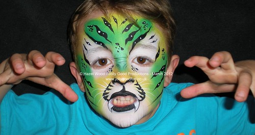 Green Tiger Face by Hazel Wood | Face Painting by Hazel ...