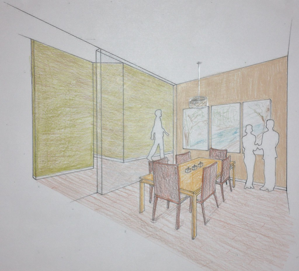 Two Point Dining Room Interior Perspective by shivanii  Two Point Dining Room  Interior Perspective shivanii. Two Point Perspective Bed