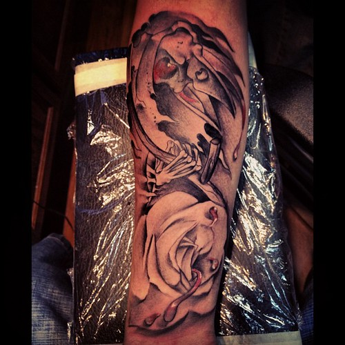 crow skull reaper rose blood tattoos tattoo mikestowkn flickr. Black Bedroom Furniture Sets. Home Design Ideas