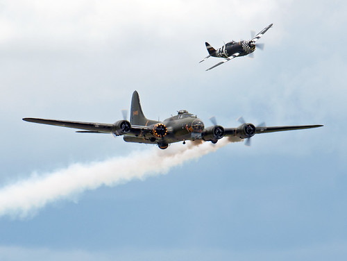 "B-17G ""Sally B"" and P-47G 