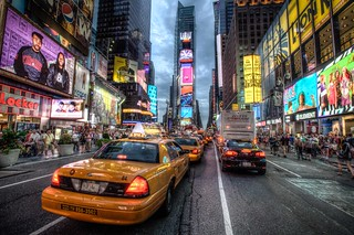taxi queue in times square | by Paul Cowell
