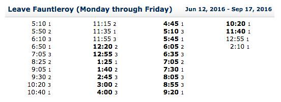 Leave fauntleroy schedule Weekday