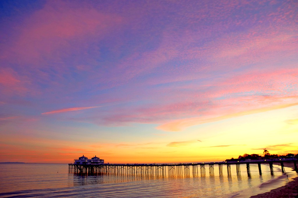 Pink HDR Socal Malibu Landscapes The Pier At Sunset A Pretty Blue