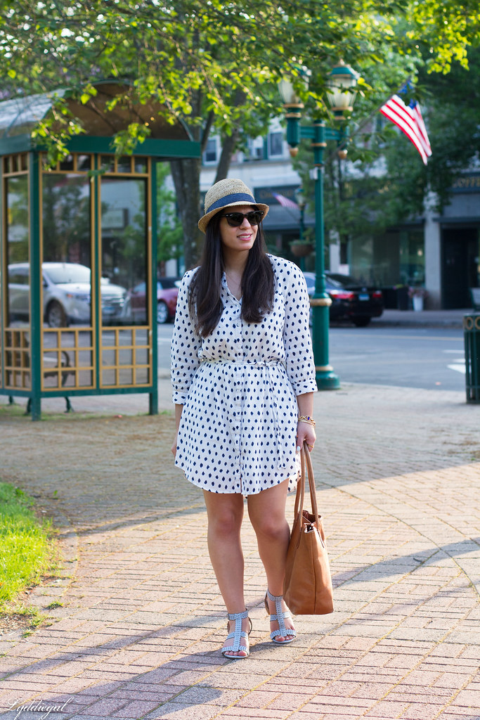polka dot dress, straw fedora, blue sandals.jpg